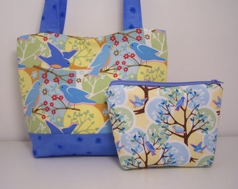 Feathered Friends Purse Set - Medium Tote Bag with Zippered Pouch