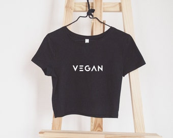 Vegan Crop Top // 100% Vegan & Cruelty Free // Graphic Tee // Jersey Short Sleeve Cropped T-Shirt // XS / S / M / L