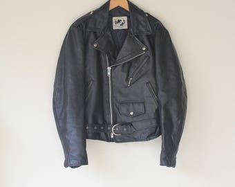 Early 90's Vintage Black Leather Motorcycle Jacket