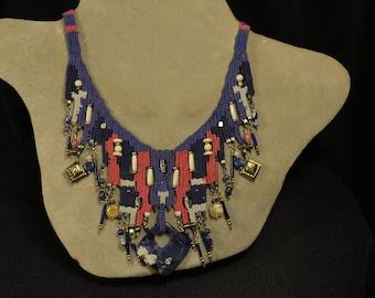Denim Lapis Woven Necklace 568