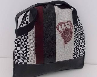 Shoulder bag faux leather with textile printing