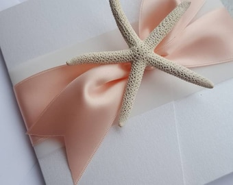 Sparkly Beach White and Blush Wrapped Satin Starfish Pocketfold Invitation