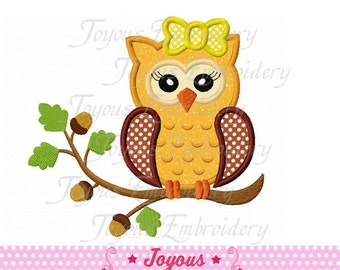 Instant Fall Owl with Bow  Applique Machine Embroidery Design NO:1429