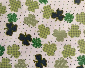 SALE - One Yard of Fabric Material - Gingham Shamrocks, St Patrick's Day
