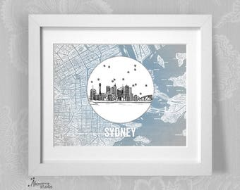Sydney, Australia - Instant Download Printable Art - Vintage City Skyline Map Series