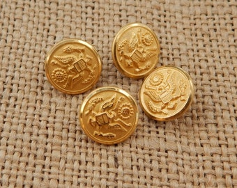 4 Eagle Insignia Brass Military Buttons  ~  Waterbury Button Co.  Conn.  ~   Military Buttons ~  Brass Military Buttons Eagle Insignia