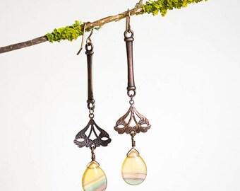 Long Yellow Fluorite Vintage Copper Drop Earrings // Gemstone Drop Earrings // Downtown Abbey Inspired Earrings // Lightweight Fan Earrings
