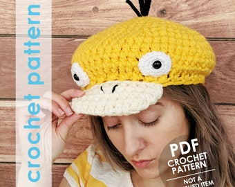 pokemon crochet pattern, psyduck hat, beret newsboy hat crochet pattern, pokemon anime, crochet hat pattern,  pokemon hat, pokemon cosplay