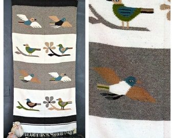 Vintage Wool Rug. Birds on Rug. Zapotec Indian Wool Rug. Made in Oaxaca Mexico. Boho Southwest Rug. 2' x 5' |The Curious Moose