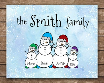 DIGITAL - Custom Snowman Family - Personalized Christmas / Winter Wall Art - DIGITAL 10x8