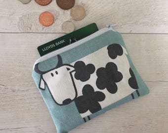 Cow purse, blue cow money purse, cow design coin purse, money pouch, small zipper pouch, coin pouch, blue pouch, card wallet, gift