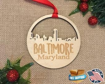 Baltimore Maryland Ornament *** Skyline Christmas Holiday Ornament *** MD