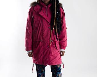 Pink 90s lady parka / Vintage oversized eskimo fur parka / Vintage ladies fur collar parka / Ladies winter coat / Vintage fall coat / Size M