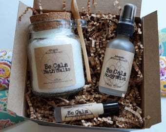 Natural Gift Set for Relaxation - Mother's Day Be Calm Lavender Gift Set - Stress Relief - eco friendly gift - gift for Mom