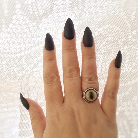 Matte Black Stiletto Nails (OR glossy) - Set of 20 - black nails ...