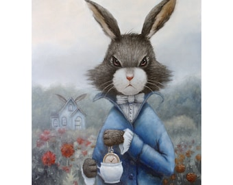 March Hare. Signed 8x10 Print of an Original Oil Painting