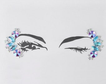 Festival Face Jewels | Blue Purple Holographic Face & Body Jewels Sticker For Festival, Rave, EDC, Coachella | Rave Festival Face Stickers