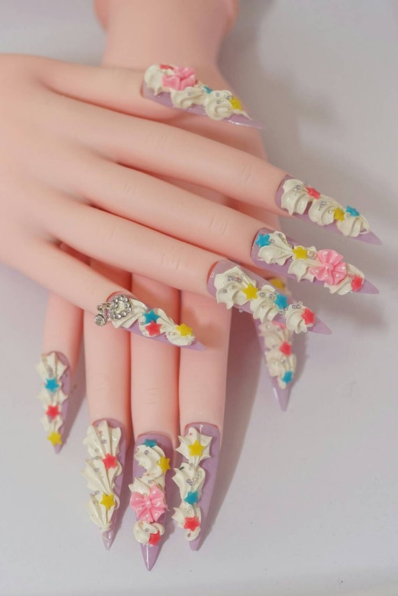 Nails stiletto nails super long nails fairy kei Japanese