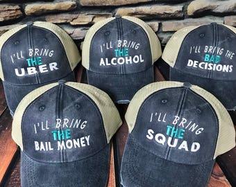 I'll Bring The alcohol, Custom Monogrammed Hat, Distressed Trucker Hat, Monogrammed Hat, Distressed Hat, drinking hat, Custom Hat,