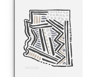 Arizona State - Wall Decor - Southwestern Art - Map Illustration - Art Print