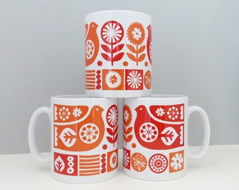 Scandinavian Bird Flowers Mug Finnish Mid Century Retro Orange Red Scandi Swedish Cup Homeware Vintage Kitchen