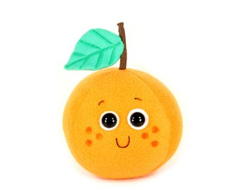 Orange Plush Toy, Cute Kawaii Orange Plushie, Orange Fruit Toy, Novelty Stuffed Toys, Handmade Unique Stuffed Toys, READY TO SHIP