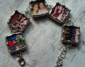 Soldered Photo Charms, Memory Bracelet, Personalized Jewelry, Custom Made To Order Keepsake, Picture Bracelet
