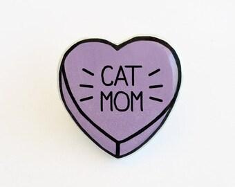 Cat Mom - Anti Conversation Purple Heart Pin Brooch Badge