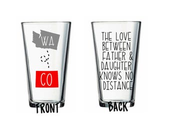 Father Daughter Love Long Distance States Father's Day Gift Custom Pub Pint Glass