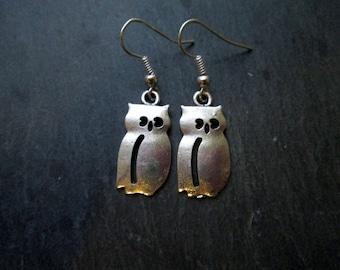 Silver Owl Charm Earrings