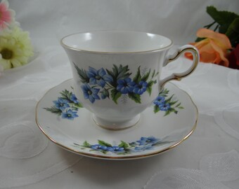 Vintage Queen Anne English Bone China Blue Morning Glory Teacup English Teacup - Pattern 8565