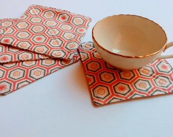 Modern Fabric Coasters, Pink Coasters, Set of 4,  Drink Coasters