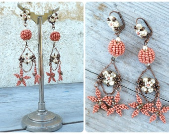 Fleurs d'Oranger Handmade in France long t Floral dangles earrings on leverbacks