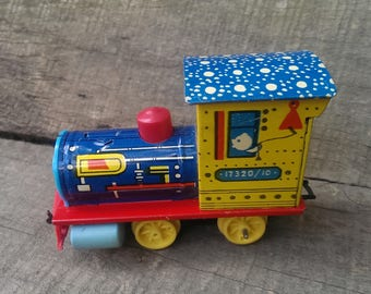 Vintage Russian Mechanical Toy, Funny Tin Toy Train, Metal Toy Train, Collectible Toy
