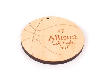 personalized basketball wooden ornament -  custom holiday gift for basketball teams, players, and coaches