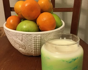 Gift/hand painted/ glass/16 oz/candle /soy/scented/jewelry/charm, aromatherapy/vegan