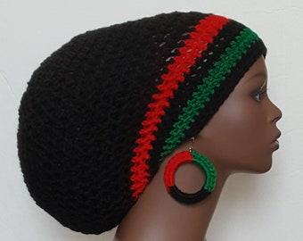 Pan-African Cultural Rasta Tam with Drawstring and Earrings Dreadlocks Locs Razondalee Razonda Lee Red Black Green