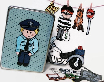 Police Officer Toy, Imaginative Playset for Kids, Policeman Themed Fridge Magnets, Magnetic Paper Doll Set, cops and Robbers, Gift for boys