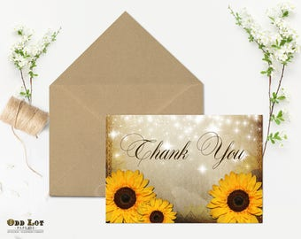 Rustic Sunflower Thank You Card Folded 5x7 Printable Thank You Greeting Card JPG or PDF file Digital printable Yellow Sunflowers Vintage