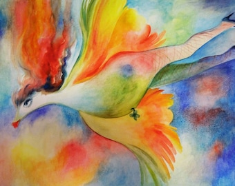 "Original Watercolor Painting ""Flying Philomena"""