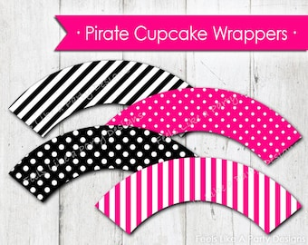 Pink Pirate Themed Cupcake Wrappers - Instant Download