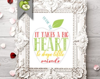 "Teacher apple Appreciation, Apple art, ""it take a big heart"", Thank you, word art, digital, printable, digital file, apple retirement gift"