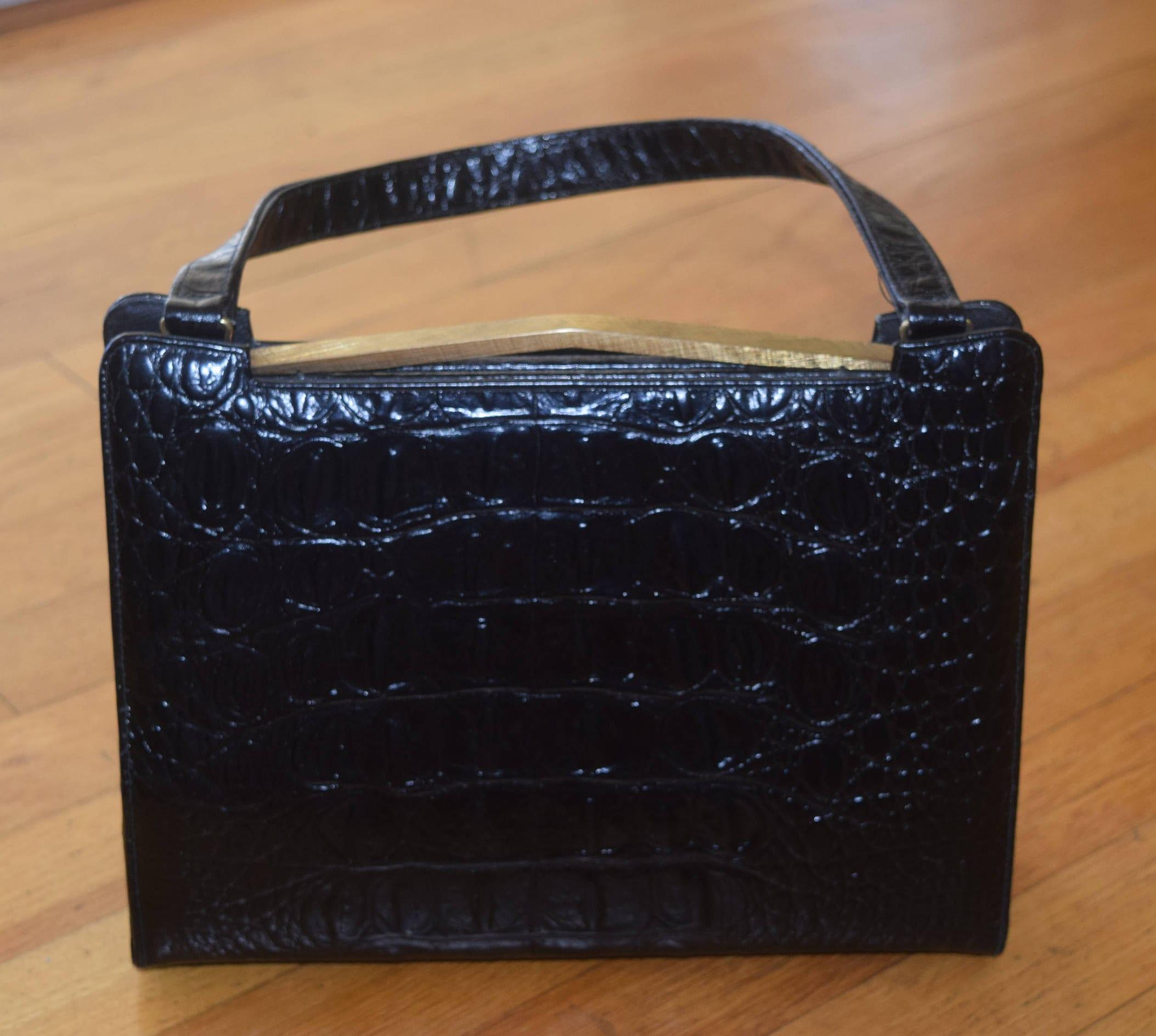 Vintage Coquette Black Croc Embossed Purse 96863cce09
