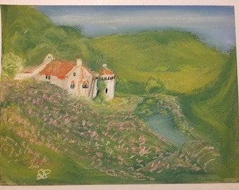 Pastel Original Depiction of Scotney Castle in Lamberhurst, England
