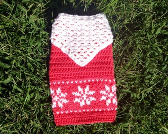 Dog sweater,Triangle scarf,Handmade clothes for pet,snow crystal pattern,Small dog sweater,Medium dog sweater,Large dog sweater,Dog costume