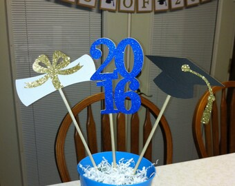 Graduation Centerpiece sticks 2016, graduation centerpiece,  2016 centerpiece, graduation decoration, graduation cap centerpiece.