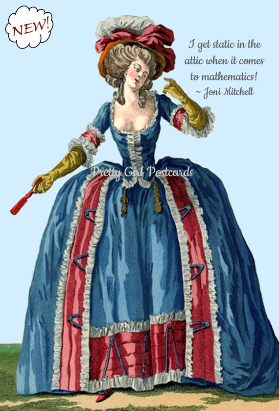 I Get Static In The Attic When It Comes To Mathematics Funny Marie Antoinette Postcard Humorous Card Pretty Girl Postcards Free Ship in USA