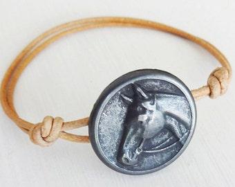Horse Bracelet in Gunmetal, Horse Button Bracelet, Genuine Leather Cord, Leather Bracelet (14 Cord Colors Available)