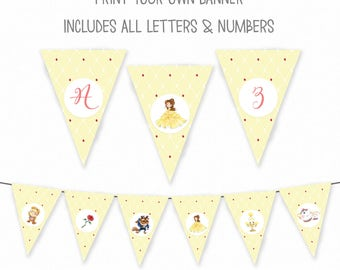 Beauty and the Beast Birthday Banner - Belle Party Banner - Beauty and the Beast Birthday Bunting - Princess Party Banner