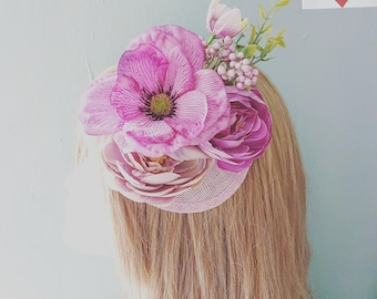 Dusky Pink Purple & Mauv Floral PillBox Hat Hair Facinator Clip